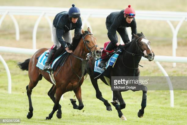 Rekindling and US Army Ranger with the tongue out gallop during the Werribee International Gallops at Werribee Racecourse on November 5 2017 in...