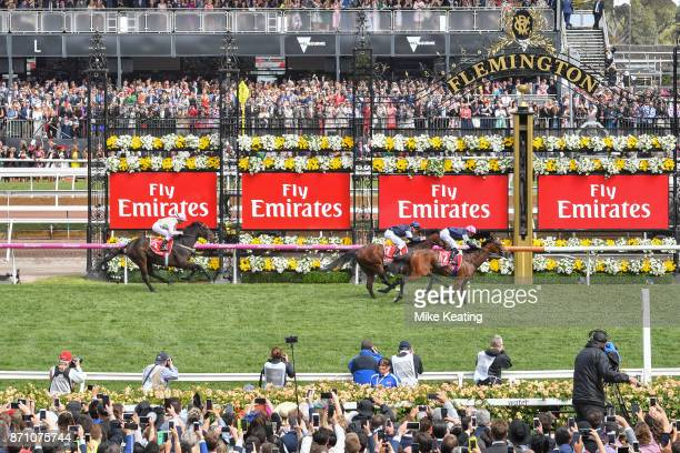 Rekindling ridden by Corey Brown wins the Emirates Melbourne Cup at Flemington Racecourse on November 07 2017 in Flemington Australia