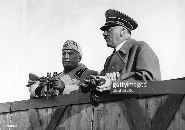 Relations Germany - Italy : Mussolini on a state visit to Germany: manoeuvre in Mecklenburg, Benito Mussolini and Adolf Hitler watching the military...