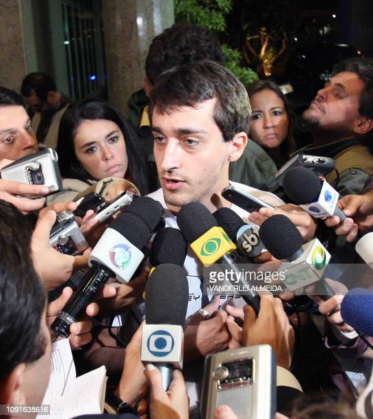 A relative of a passenger of the illfated Air France flight 447 is surrounded by journalists at the hotel where he is being looked after close to Rio...
