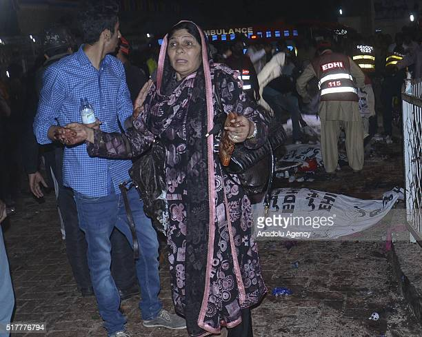 A relative of a victim of the suicide bombing mourns after a suicide bomber blew himself up in a crowded park in Lahore killing at least 56 people...