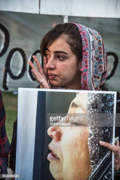 A relative of the victims crying for the loss of her beloved persons 16 refugees drowned when the small boat they were traveling on capsized near...