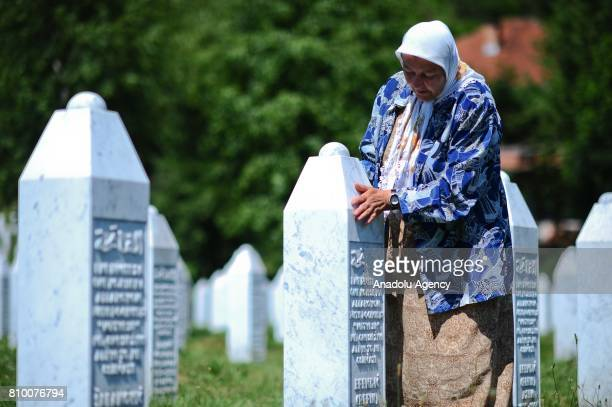Relative one of Srebrenica Massacre victims arrives to pray ahead of funeral ceremony of 70 people, who died in the Srebrenica Massacre and will be...