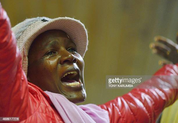 A relative reacts after seeing her kin in Nairobi on April 4 among survivors of an attack by islamist gunmen claimed by alShabab on a university...