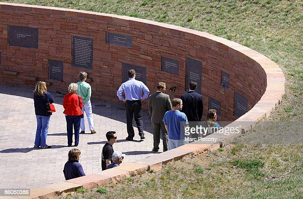 Relatives and community members gather to commemorate the tenyear anniversary of the Columbine High School shootings at the Columbine Memorial Park...