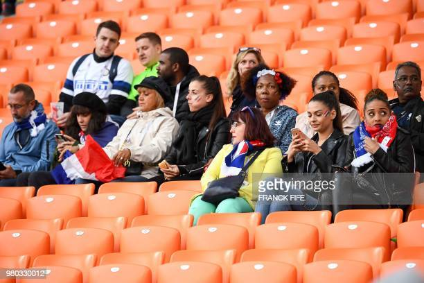 Relatives and family members of France's players are seen in the stands before the Russia 2018 World Cup Group C football match between France and...