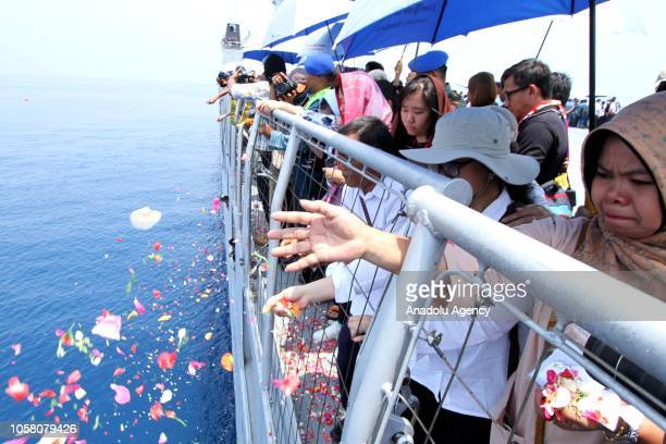 Relatives and family members of the crashed Lion Air JT 610 passengers hold a mass prayer and flowers scattering ceremony at the planes crashed site...