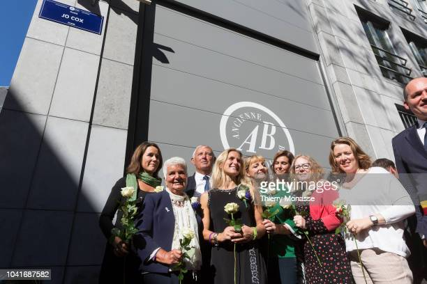 Relatives and friends attend a ceremony ceremony to name a square in honour of slain British Labour MEP Jo Cox on September 27 2018 in Brussels...
