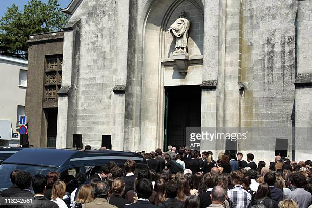 Relatives and friends attend a funeral ceremony on April 28 2011 in the French western city of Nantes in the memory of the five Dupont de Ligonnes...