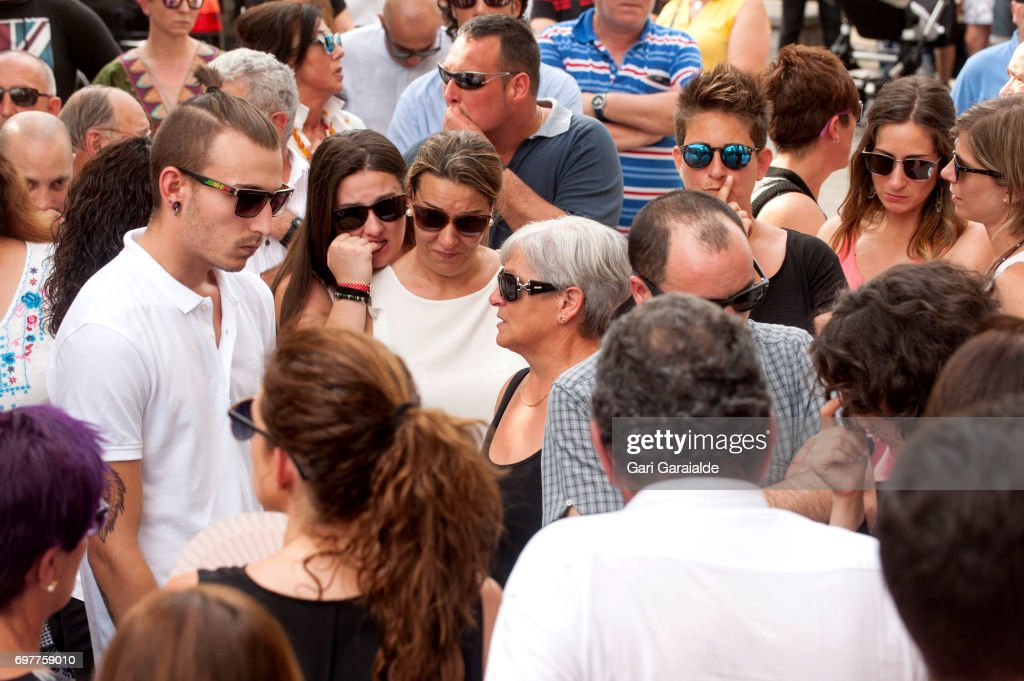 Relatives and friends attend the funeral of bullfighter Ivan Fandino on June 19, 2017 in Orduna, Spain.