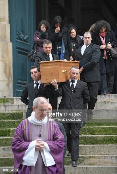 Relatives and friends follow the coffin of French actress Maria Schneider after a funeral ceremony at the SaintRoch church on February 10 2011 in...