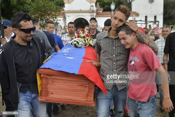 TOPSHOT Relatives and friends of 15yearold Jose Francisco Guerrero who was shot when he went to buy some food and was found trapped in a...