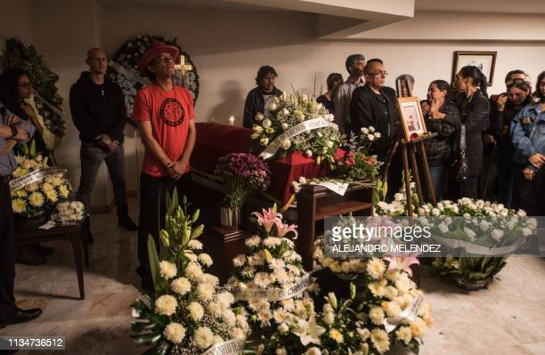 Relatives and friends of Armando Vega Gil vocalist and founder of Mexican veteran rock band Botellita de Jerez who committed suicide in aradical...