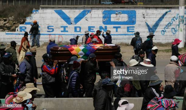 Relatives and friends of Devi Posto Cusi carry his coffin, who was killed during clashes with police at the Senkata fuel plant, as part of a funeral...