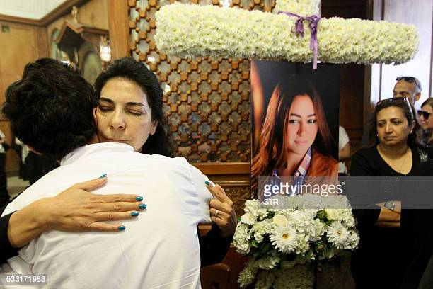 TOPSHOT Relatives and friends of EgyptAir hostess Yara Hani who was onboard Flight MS804 from Paris to Cairo shortly before it plunged into the...