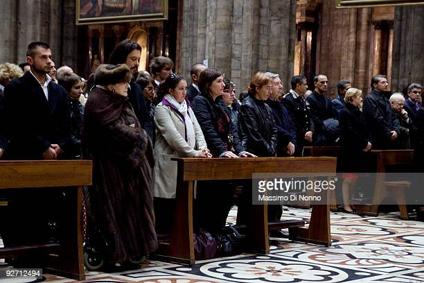 Relatives and friends of Merini attend the funeral service of Italian Poetess Alda Merini at the Milan Cathedral on November 4 2009 in Milan Italy...