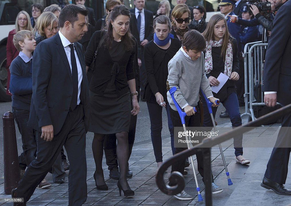 Relatives and friends of the victims attend the funeral ceremony at Saint Peters Church for the seven children from St Lambertius d' Heverlee School who died in the Sierre Bus Crash on March 22, 2012 in Leuven,Belgium. 28 people were killed in the tunnel crash in Sierre, Switzerland on March 13, 2012, including 22 children from two schools in Lommel and Heverlee on their way home from a skiing vacation.