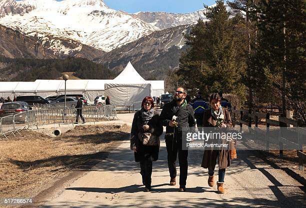 Relatives and friends of the victims visit the memorial site for the victims of the Germanwings plane crash on March 24 2016 in Le Vernet FranceThe...