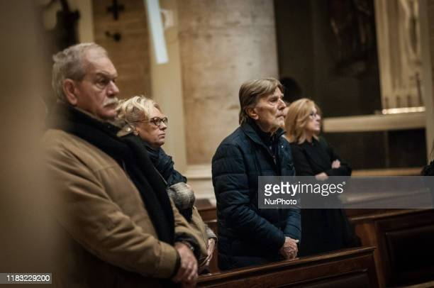Relatives and friends to say goodbye during the Funeral of Antonello Falqui, director, author of television programs and considered among the...