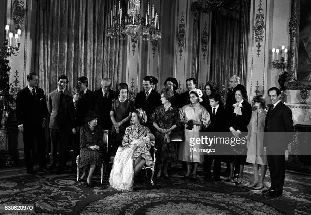 Relatives and godparents of Princess Anne's 37 day old son Master Peter Mark Andrew Phillips gather in the White Drawing Room at Buckingham Palace...