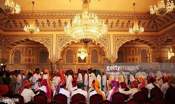 Relatives and members of erstwhile ruling families queue to greet Maharaja Sawai Padmanabh Singh of the erstwhile royal family of Jaipur at the City...