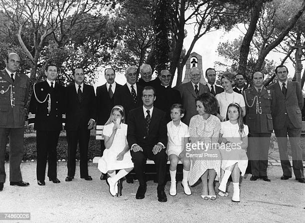 Relatives and palace staff attend the first Holy Communion of Prince Felipe of Spain at the Zarzuela Palace in Madrid 2nd June 1975 Felipe is seated...