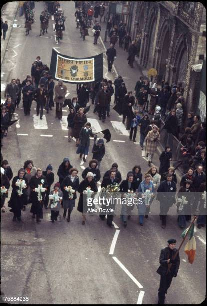 Relatives and supporters parade through Londonderry in memory of those killed by British paratroopers on Bloody Sunday on the sixth anniversary of...