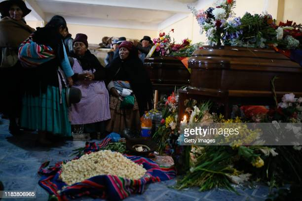 Relatives attend the funeral of Antonio Ronaldo Quispe Ticona who was killed during clashes with police at the Senkata fuel plant on November 21 2019...