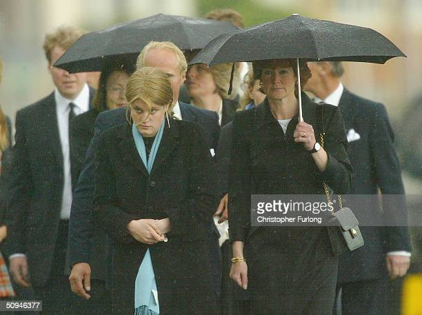 Relatives attend the funeral of Princess Diana's mother Frances Shand Kydd at the Cathedral of Saint Columba on June 10 2004 in Oban Argyll Bute...