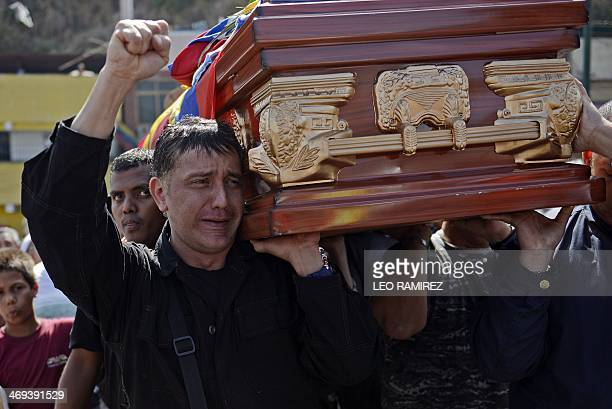 Relatives friends and progovernment supporters carry the coffin of Juan Montoya known as Juancho who was one of the three killed during the recent...