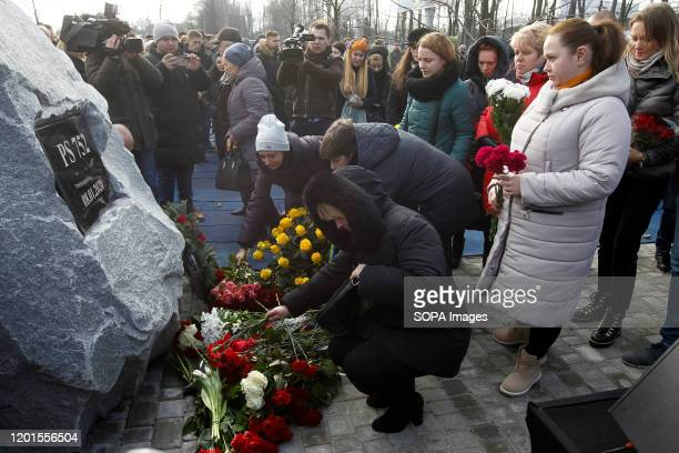 Relatives, Friends, the UIA and Boryspil Airport employees attend a ceremony of founding a memorial to the victims of the flight PS752 who crashed in...