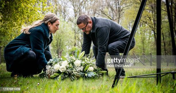 Relatives lay a wreath during the May 4 commemoration in National Monument Camp Vught, on May 4, 2021 - Remembrance of the Dead commemorates all...