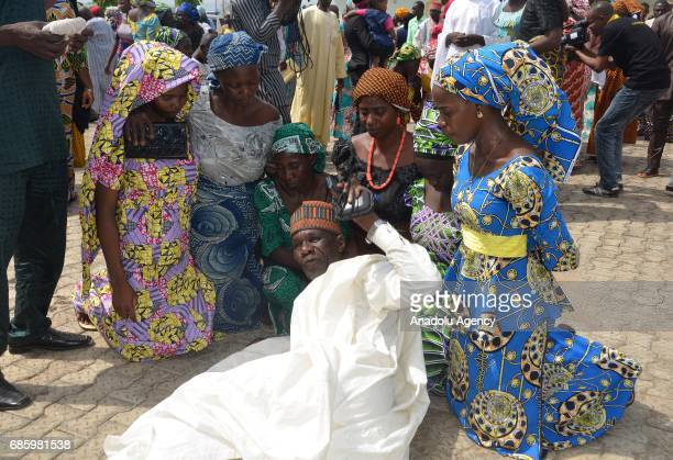 Relatives meet with abducted girls after the releasing 82 of school girls kidnapped by Boko Haram in Chibok back in 2014 at Aso Rock Presidential...