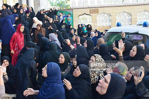 Relatives mourn during the funeral ceremony of Egyptian soldier Abdurrahman Mutawalli killed in the deadly attacks in the North Sinai town of Sheikh...