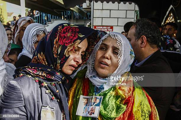 Relatives mourn during the funeral for a victim of Saturday's Ankara bomb attacks on October 12 in Istanbul Turkey Islamic State is the focus of...