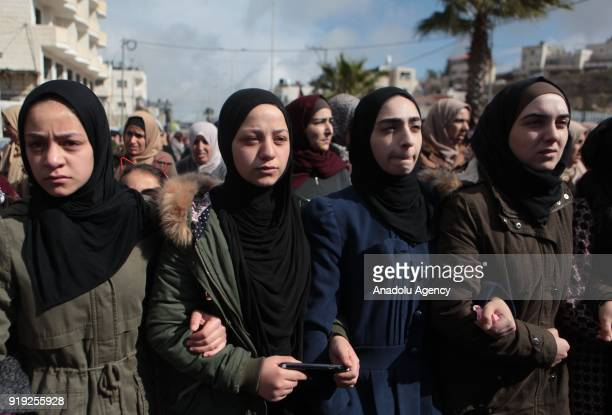 Relatives of 17yearold Hamza Zeamire who was killed by Israeli soldiers after allegedly attempting knife attack at Jewish settlement Karmei Tzur...