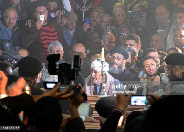 Relatives of 7 Egyptians found dead in the eastern Libyan city of Benghazi mourn during a funeral ceremony in Cairo Egypt on February 26 2014 The...