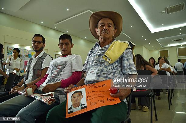 Relatives of a victim of the armed conflict in Colombia attend a ceremony marking the dignified return of the remains in Villavicencio Meta...