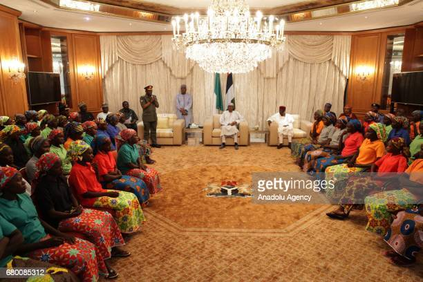 Relatives of abducted girls meet with President of Nigeria Muhammadu Buhari after the releasing 82 of school girls kidnapped by Boko Haram in Chibok...