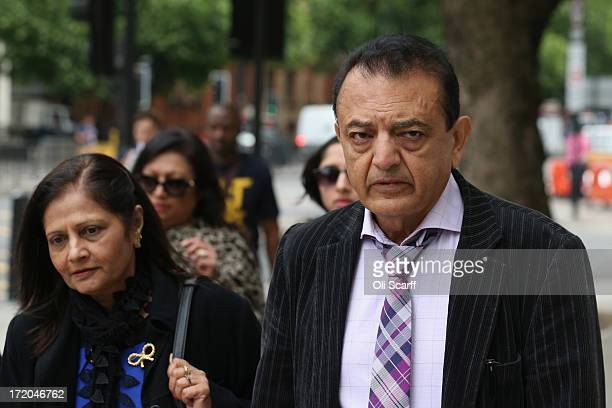 Relatives of Anni Dewani including her father Vinod Hindocha and mother Nilam Hindocha arrive at Westminster Magistrates Court to attend the...