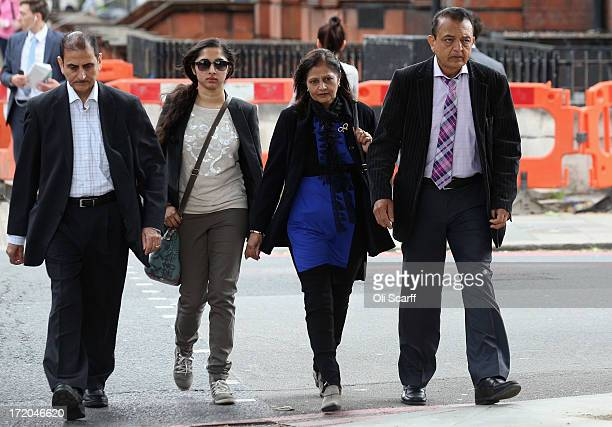 Relatives of Anni Dewani including her father Vinod Hindocha mother Nilam Hindocha and Sonal Chotai arrive at Westminster Magistrates Court to attend...