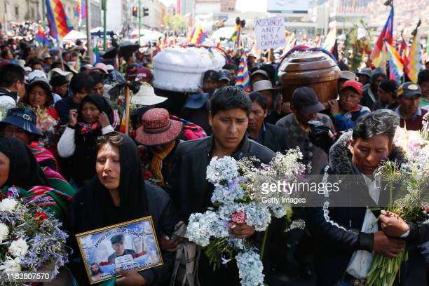 Relatives of Antonio Ronaldo Quispe Ticona lead the procession of the victims killed during clashes with police at the Senkata fuel plant on November...