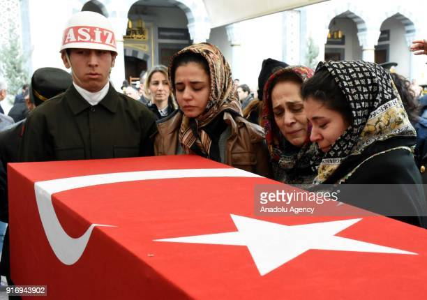 Relatives of First Lieutenant Erdem Mut who was martyred in a helicopter accident within the 'Operation Olive Branch' in Syria's Afrin region mourn...
