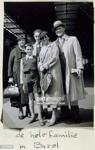 Relatives of German Holocaust victim Anne Frank pose at the train station, Basel, Switzerland, 1936. L-R: Alice Frank , Bernd and Stephan Elias ,...
