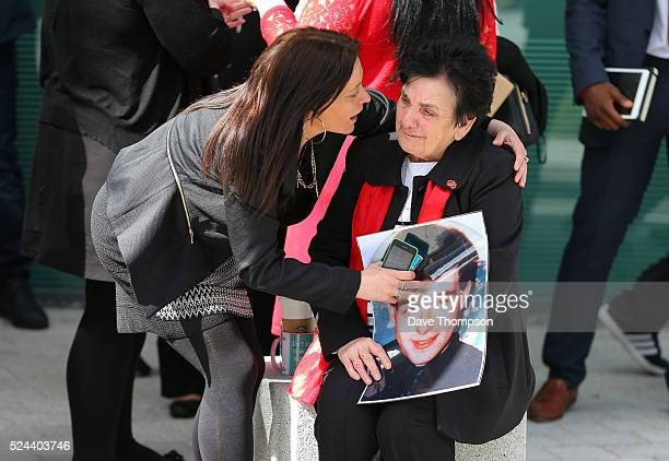 Relatives of Hillsborough victims show their emotions as they depart Birchwood Park after hearing the conclusions of the Hillsborough inquest on...