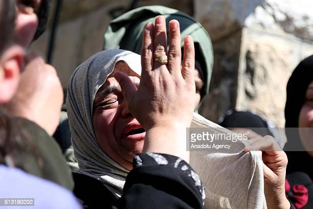 Relatives of Iyad Secdiye who was shot dead by Israeli soldiers during clashes between Palestinians and Israeli soldiers mourn during a funeral...