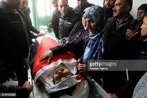 Relatives of Kasim Ferid Cabir who was shot dead by Israeli soldiers after he allegedly carried out an attack and wounded Israeli security forces...