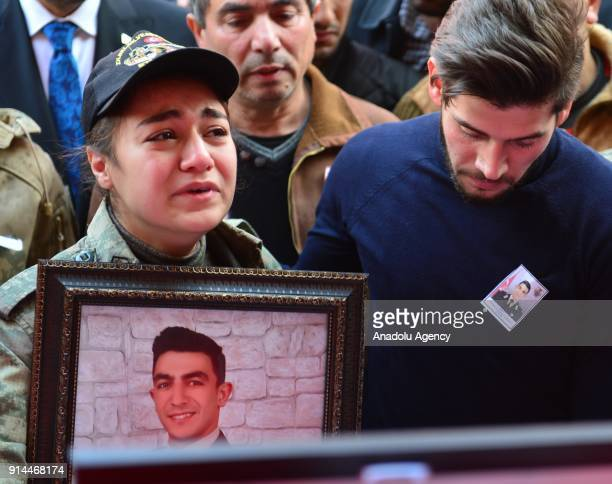 Relatives of martyred lieutenant Muhammed Cihangir Cubukcu who was martyred after the terrorist group targeted a Turkish army tank during the...