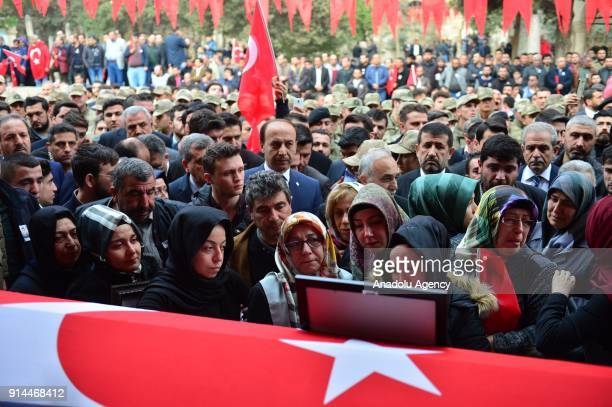 Relatives of martyred lieutenant Muhammed Cihangir Cubukcu who was martyred during the 'Operation Olive Branch'in Syria's Afrin region mourn around...