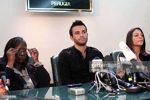 Relatives of Meredith Kercher mother Arline Kercher, brother Lyle Kercher and sister Stephanie Kercher hold a meeting with media At the Sangallo...